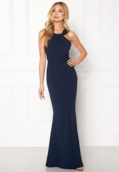 Goddiva Pleated Neckline Maxi Navy Bubbleroom.no