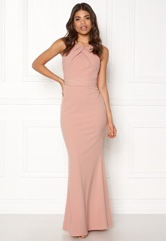 Goddiva Pleated Neckline Maxi Nude Bubbleroom.no