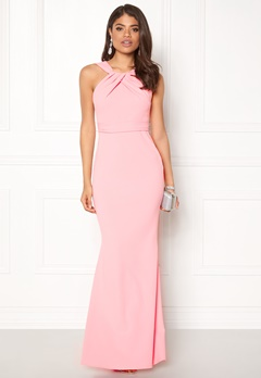 Goddiva Pleated Neckline Maxi Pink Bubbleroom.no