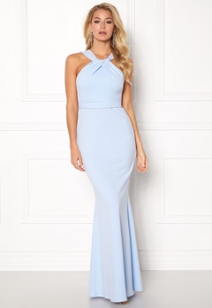 Goddiva Pleated Neckline Maxi Powder Blue Bubbleroom.se