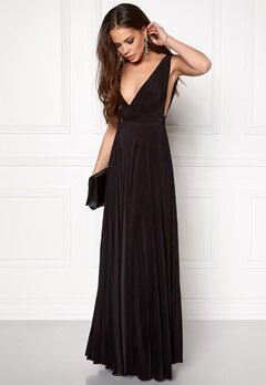 Goddiva Pleated Oscar Dress Black Bubbleroom.se