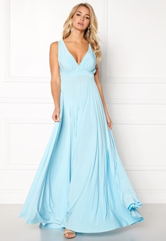 Goddiva Pleated Oscar Dress Blue Bubbleroom.no