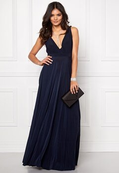 Goddiva Pleated Osvar Dress. Navy Bubbleroom.no
