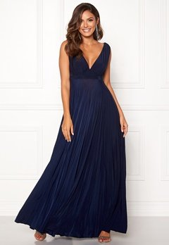 Goddiva Pleated Oscar Maxi Dress Navy Bubbleroom.se