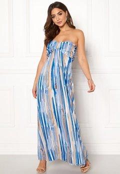 Goddiva Resort Bandeau Maxi Dress Blue Multi Bubbleroom.se