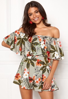 Goddiva Resort Bardot Frill Playsuit Tropical Print Bubbleroom.se