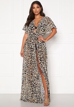 Goddiva Resort Chiffon Maxi Kaftan Animal Print Bubbleroom.se