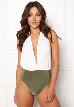 Goddiva Resort Halterneck Swimsuit White/khaki Bubbleroom.se
