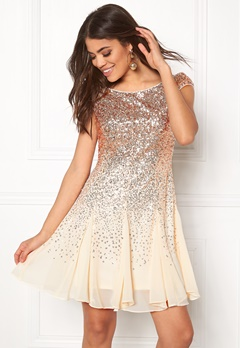 Goddiva Sequin And Chiffon Dress Champagne Bubbleroom.dk
