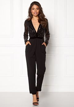 Goddiva Sequin Bodice Jumpsuit Black Bubbleroom.se