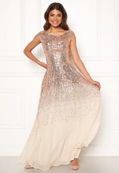 Goddiva Sequin Chiffon Maxi Dress Champagne Bubbleroom.se