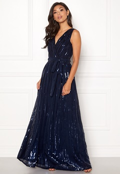 Goddiva Sequin Chiffon Maxi Dress Navy Bubbleroom.se
