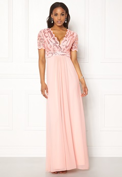 Goddiva Sequin Chiffon Maxi Dress Nude Bubbleroom.se