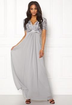 Goddiva Sequin Chiffon Maxi Dress Silver Bubbleroom.se
