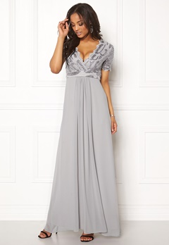 Goddiva Sequin Chiffon Maxi Dress Silver Bubbleroom.dk