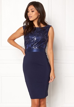 Goddiva Sequin Embellished Dress Navy Bubbleroom.dk