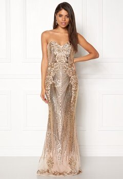 Goddiva Sequin Embroidered Dress Gold Bubbleroom.se