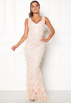 Goddiva Sequin Flapper Maxi Dress Cream Bubbleroom.dk