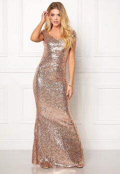 Goddiva Sequin Maxi Dress Champagne Bubbleroom.se