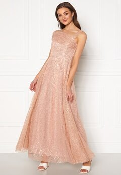 Goddiva Sequin One Shoulder Bardot Maxi Dress Champagne Bubbleroom.se