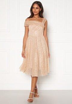 Goddiva Sequin One Shoulder Bardot Midi Dress Champagne Bubbleroom.se