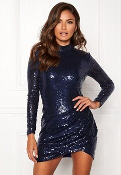 Goddiva Sequin Open Mini Dress Navy Bubbleroom.se
