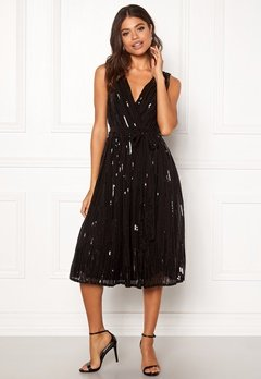 Goddiva Sequin Skater Dress Black Bubbleroom.se
