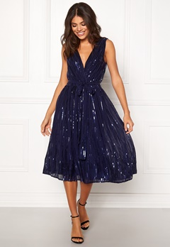 Goddiva Sequin Skater Dress Navy Bubbleroom.se