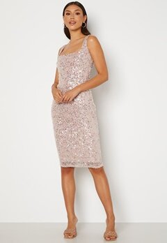Goddiva Sequin Square Neck Midi Dress Blush Bubbleroom.se