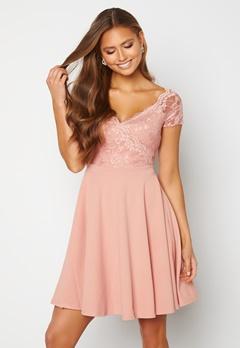 Goddiva Short Sleeve Lace Trim Skater Dress Blush Bubbleroom.se