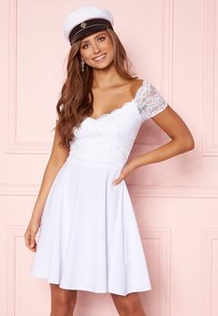 Goddiva Short Sleeve Lace Trim Skater Dress White Bubbleroom.se