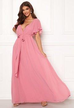 Goddiva Flutter Chiffon Dress Dusky Pink Bubbleroom.se