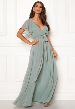 Goddiva Sleeve Chiffon Maxi Dress Sage Green Bubbleroom.se