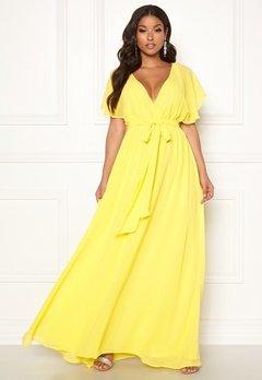 Goddiva Flutter Chiffon Dress Soft Lemon Bubbleroom.se