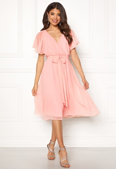 Goddiva Sleeve Chiffon Midi Dress Soft Pink Bubbleroom.se