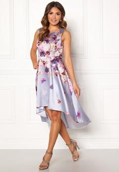 Goddiva Sleeveless High Low Dress Grey Satin Print Bubbleroom.se