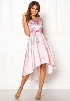 Goddiva Sleeveless High Low Dress Pink Satin Print Bubbleroom.se