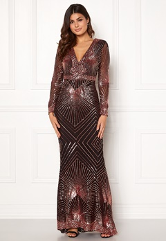Goddiva Starburst Sequin Dress Black/gold Bubbleroom.se