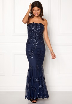 Goddiva Strapless Sequin Dress Navy Bubbleroom.dk