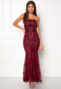 Goddiva Strapless Sequin Dress Wine Bubbleroom.dk