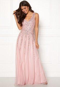 Goddiva Sunray Sequin Maxi Dress Blush Bubbleroom.se