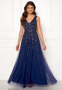 Goddiva Sunray Sequin Maxi Dress Navy Bubbleroom.se