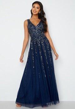 Goddiva Sunray Sequin Maxi Dress Navy bubbleroom.se