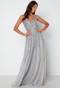Goddiva Sunray Sequin Maxi Dress silver bubbleroom.se