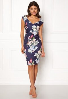 Goddiva Sweetheart Floral Dress Navy Bubbleroom.se