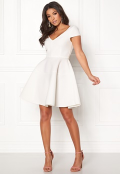 Goddiva Textured Skater Dress White Bubbleroom.se