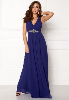 Goddiva V Neck Embellished Dress Royal Bubbleroom.no