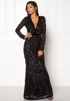 Goddiva V Neck Embroidered Dress Black Bubbleroom.se
