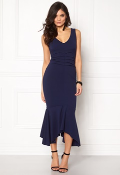 Goddiva V Neck Pleated Peplum Navy Bubbleroom.se