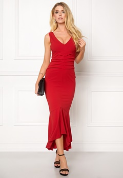 Goddiva V Neck Pleated Peplum Red Bubbleroom.se